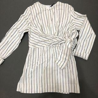Zara直條紋長版白色打結七分袖襯衫 #五折清衣櫃