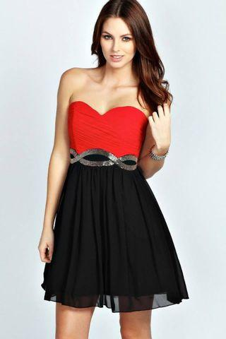 RED BLACK BEADS PARTY DRESS