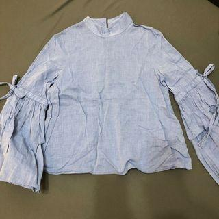 Zara淺藍牛仔感小高領喇叭袖綁帶長袖上衣 #五折清衣櫃