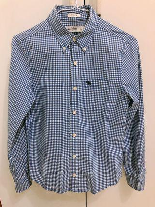 A&F小孩藍白襯衫 size L
