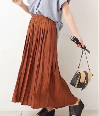 日本品牌nice claup橘棕色百褶裙 有瑕疵便宜賣