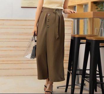 日本品牌咖啡綠直筒褲裙