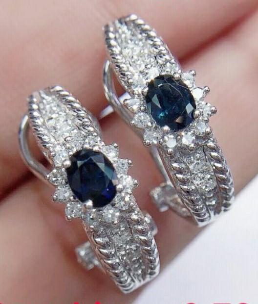 18K真藍寶石鑽石耳環