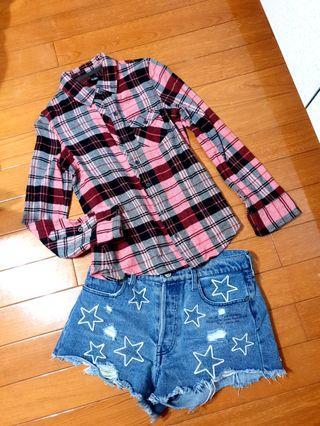 日本古著店購入紅格紋襯衫