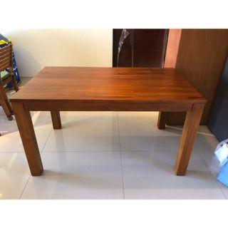 全新詩肯柚木餐桌椅組(1桌+2椅+1長凳)