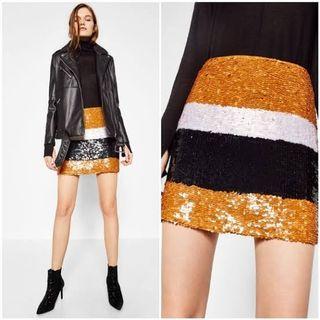 ZARA Sequin Colorful Orange White Black Skirt