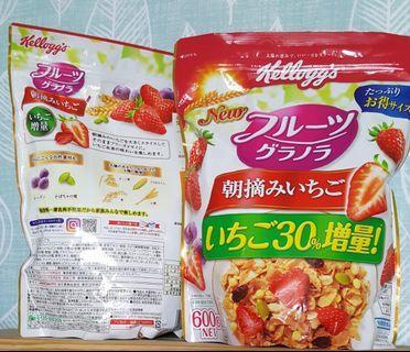 現貨預購 日本家樂氏麥片 Kellogg's 水果麥片 朝摘草莓600克 穀物麥片