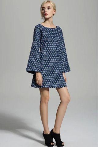 ZARA Floral Etnik Blue Kimono A Line Dress