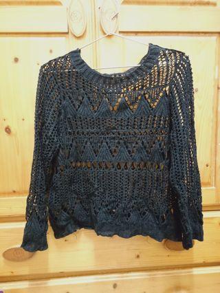 黑色 圖騰 編織 造型 長袖 上衣