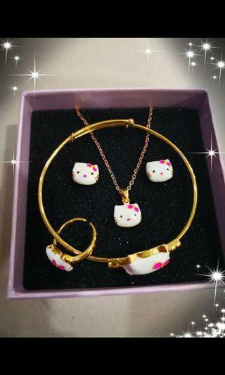 18k gold plated Hello Kitty kids 4 in 1 set