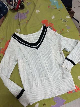 學院風針織V領白色上衣❤️#五折清衣櫃