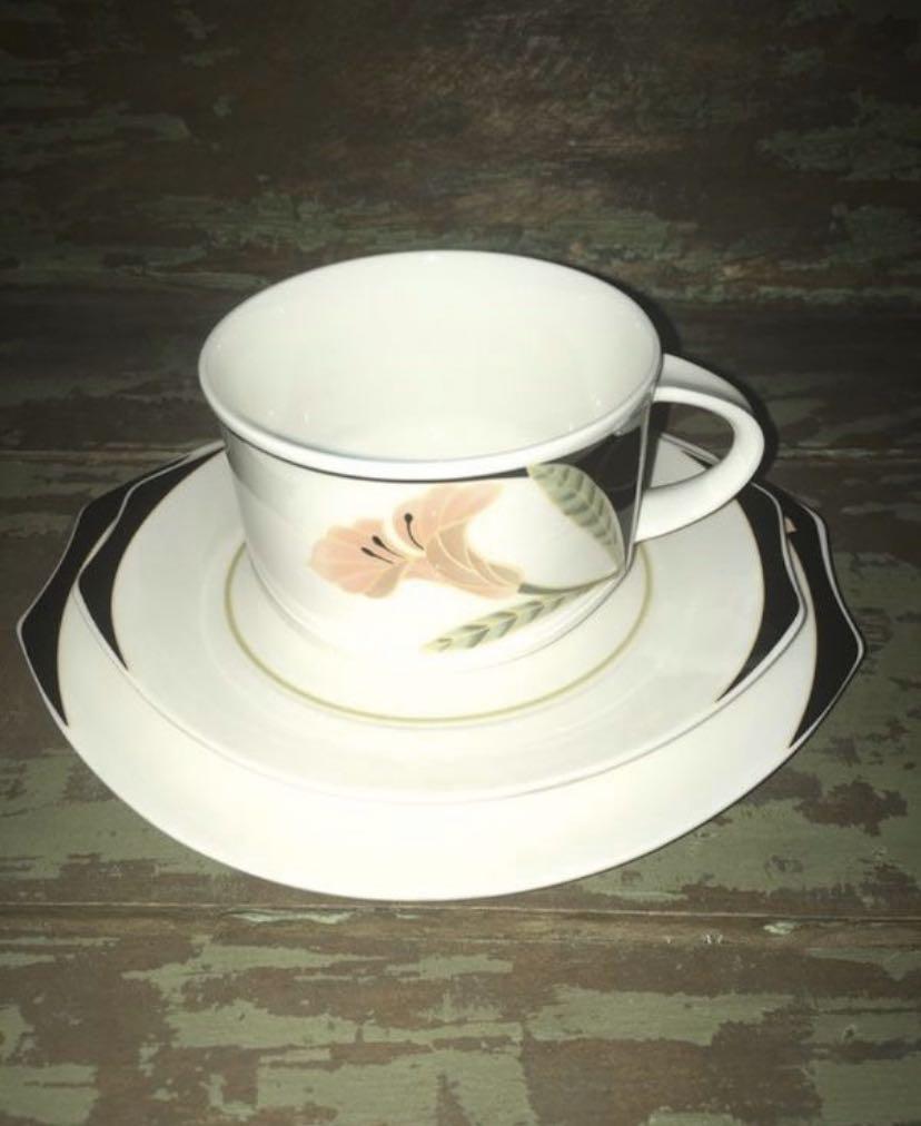 3 Piece Villeroy & Boch Iris Tea Cup Saucer & Dessert Dish Set
