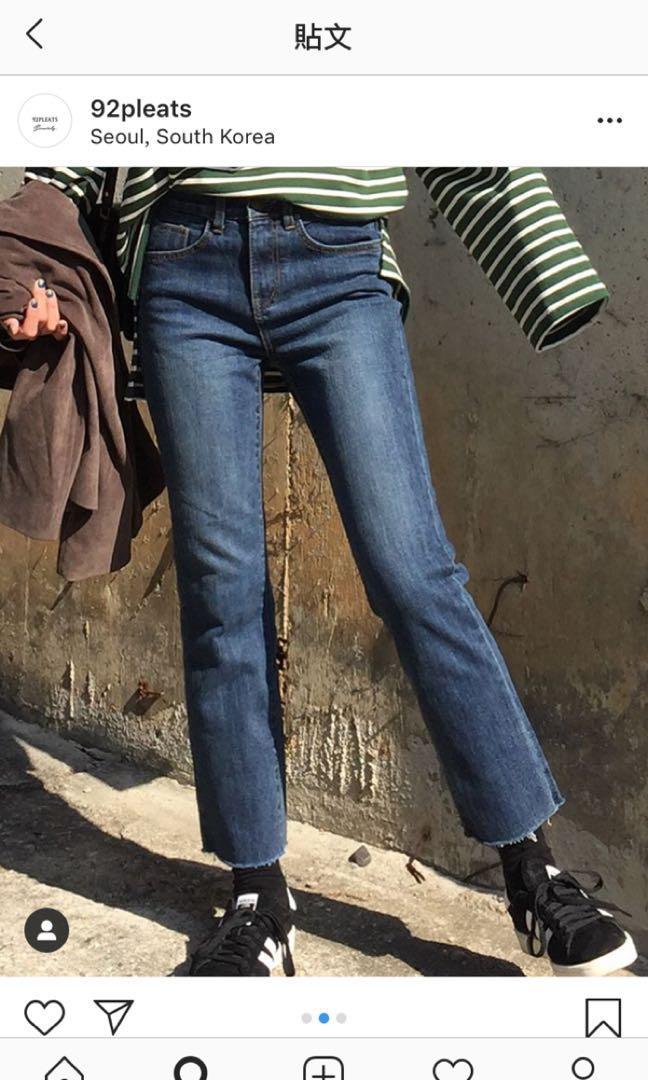92pleats深色直筒牛仔褲