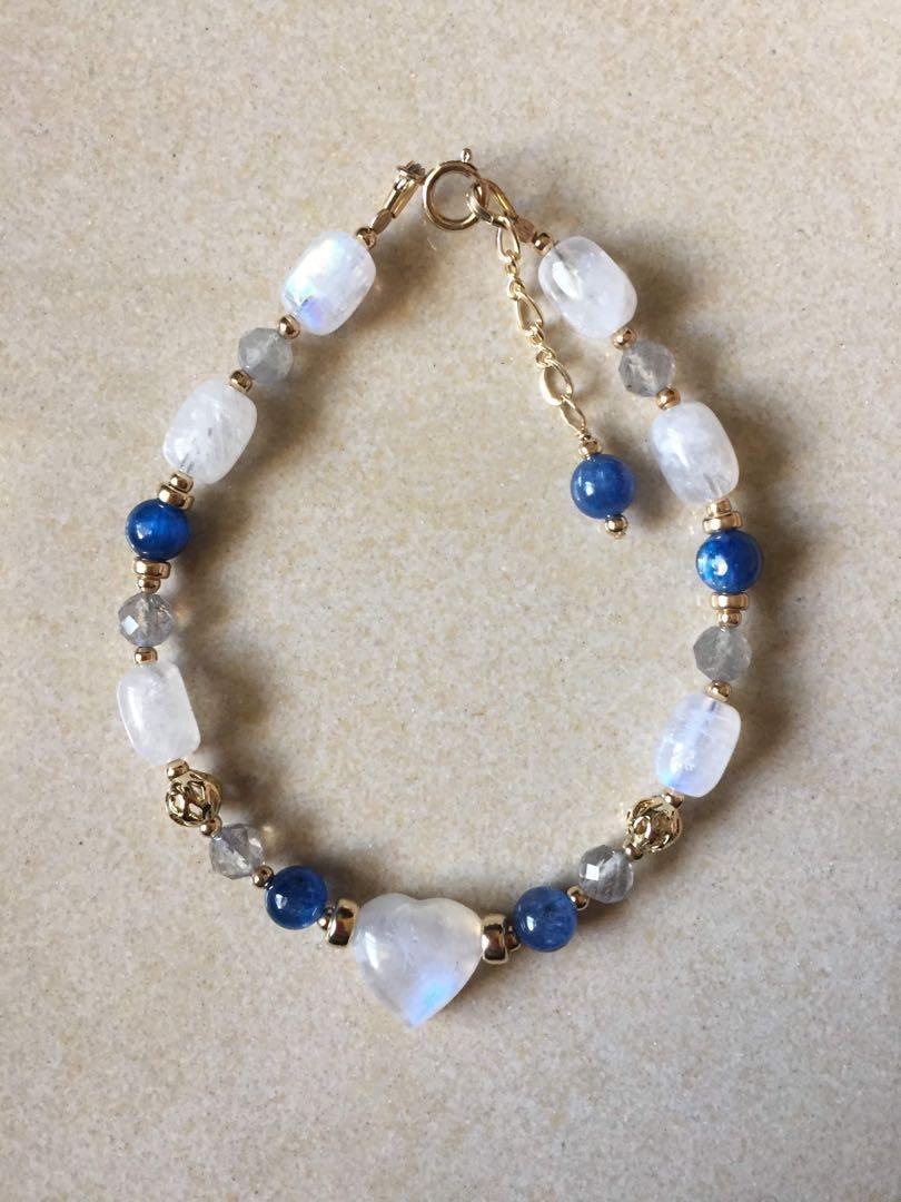 月光石藍晶手鍊