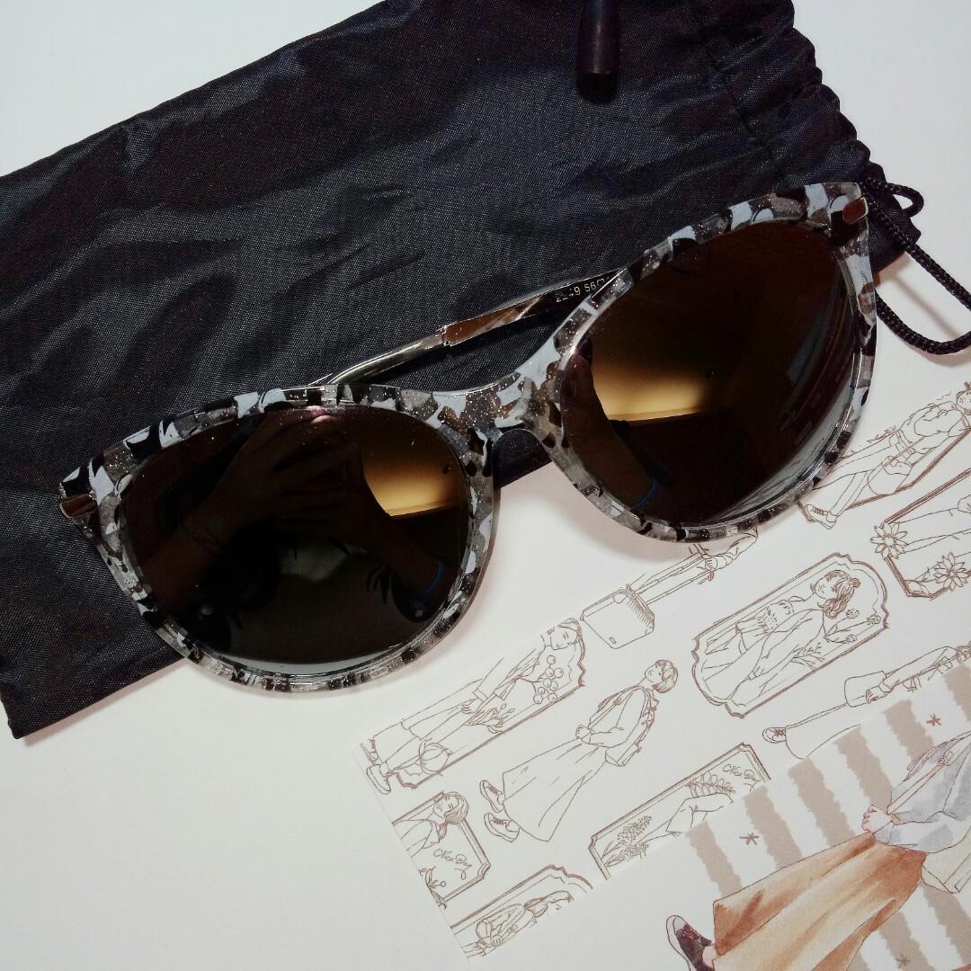 時尚黑白豹紋大理石 文青 圓框 波斯頓框 太陽眼鏡