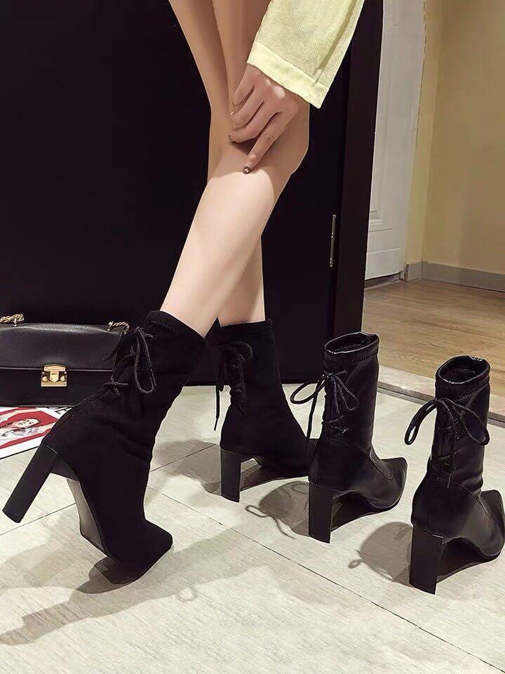 尖頭 高跟鞋 靴子 高跟靴子 短靴 長靴 絨布 韓風