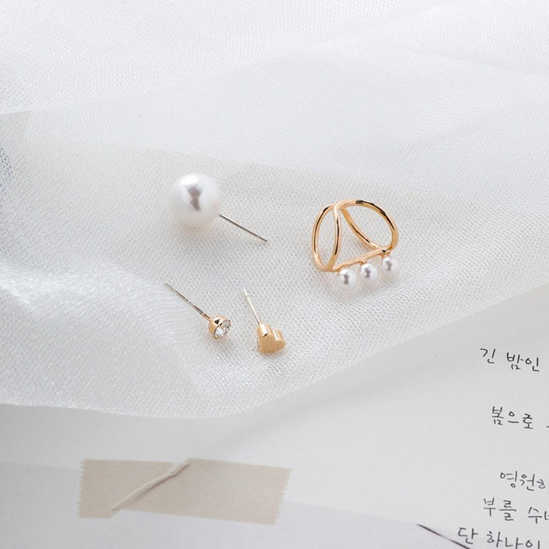 {朵朵韓飾} B3313 韓國直送(正韓)-925銀針 時尚個性水鑽愛心珍珠四件套耳環