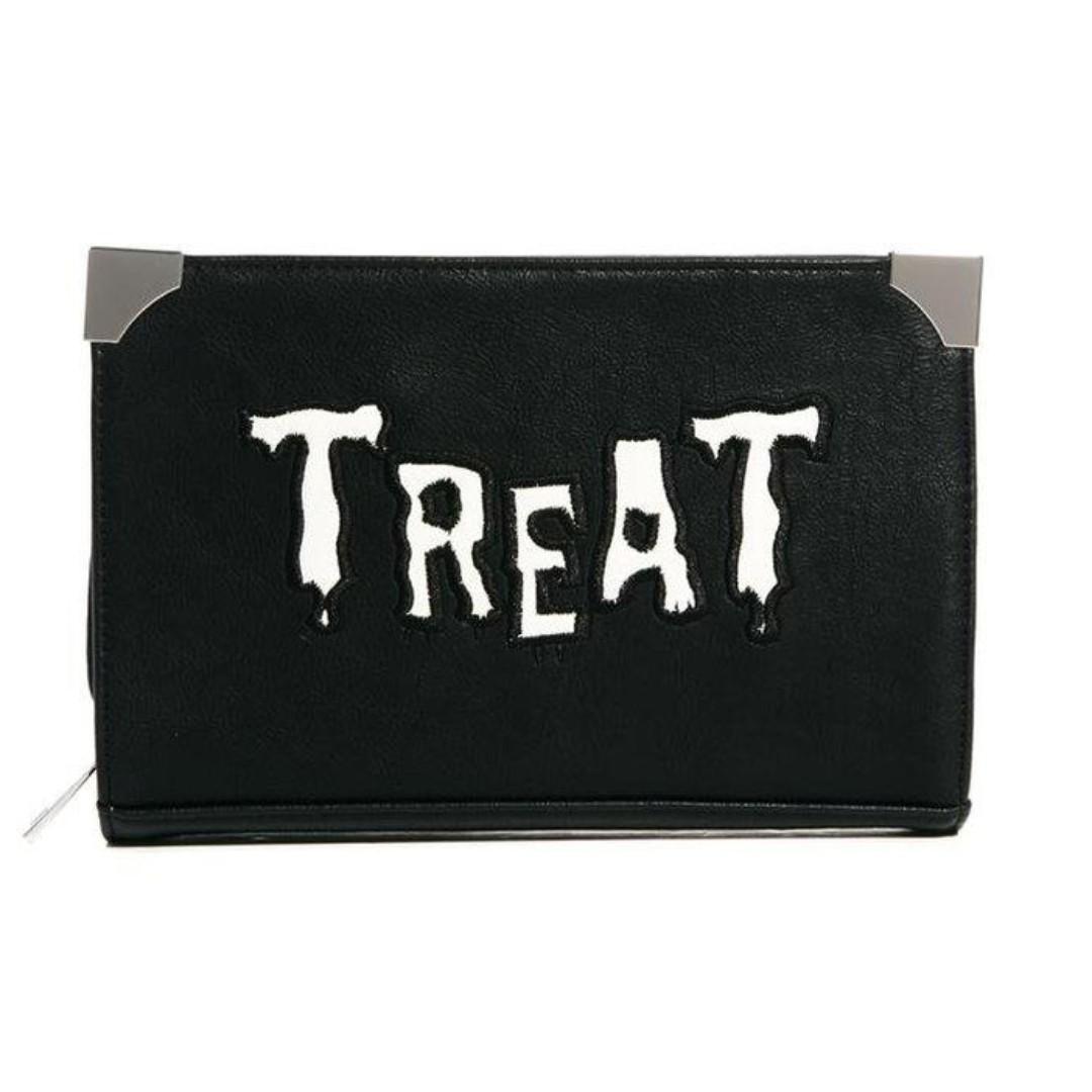 ASOS英國空運Halloween萬聖節風格TREAT驚悚字母 搗蛋惡搞 硬皮版手拿方包BAG現貨黑色