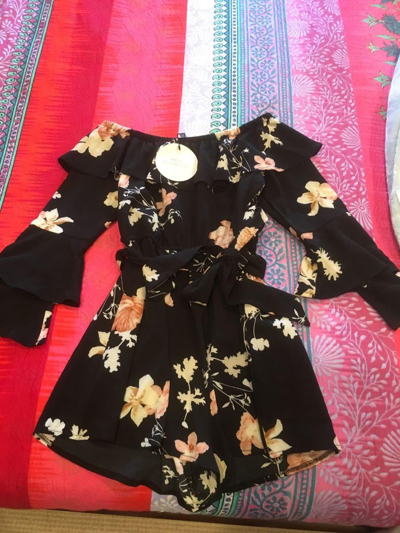 BNWT long sleeve off shoulder black floral playsuit