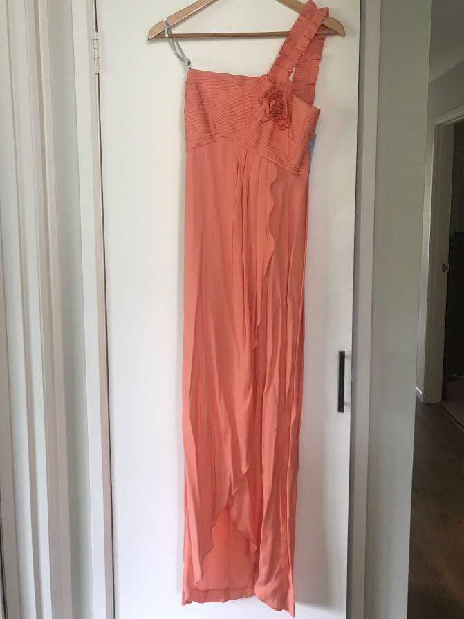 BNWT Out with Evie one shoulder pleated flower design maxi dress RRP$199.95
