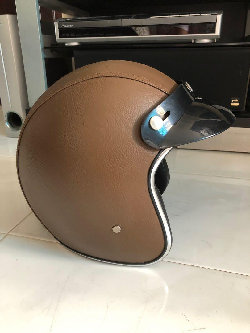 Brown leather silver lining helmet