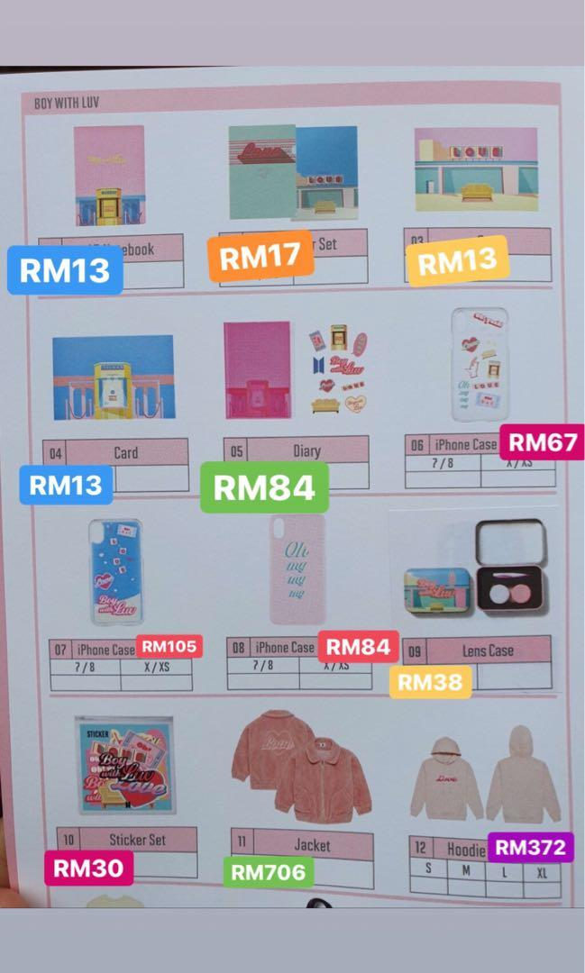 BTS Boy with Luv theme products