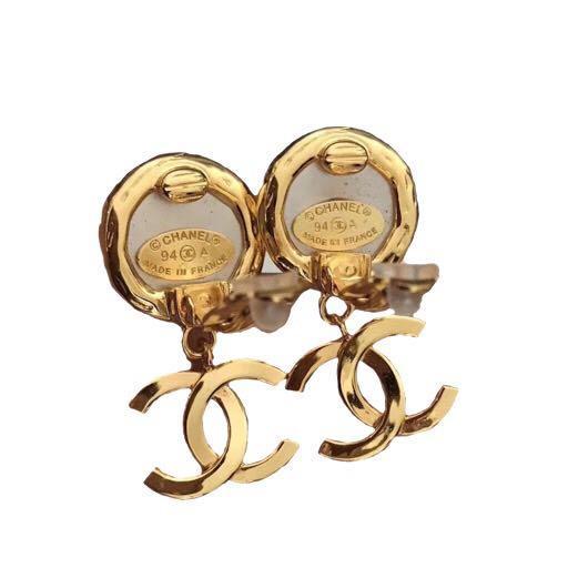 Chanel vintage cc logo faux pearl dangling earrings