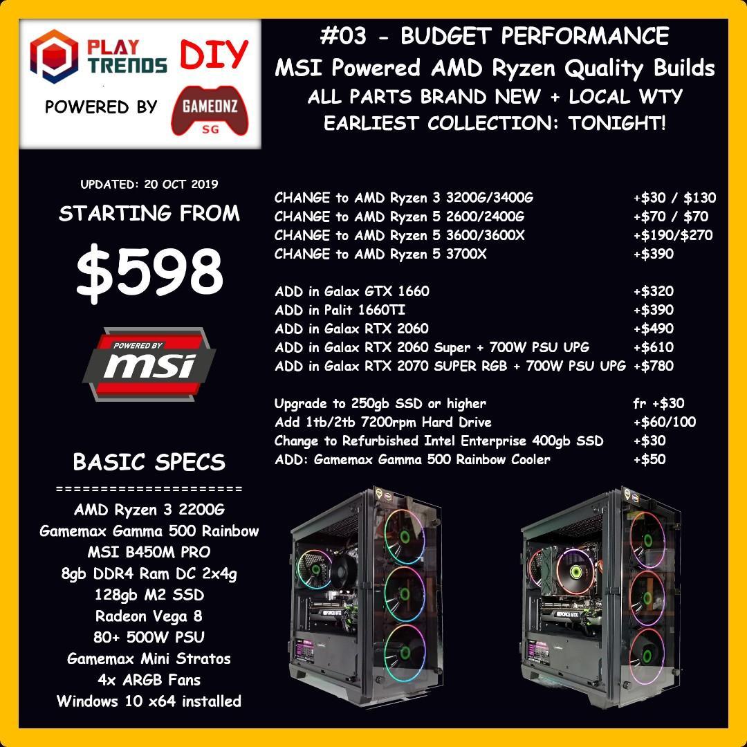 +COMBO+ ESports PUBG FORTNITE RGB Gaming PC Intel I3 8100 I5 8400 9400F 9600K I7 8700 9700K I9 9900K AMD Ryzen 3 2200G 3200G 5 2400G 3400G 2600 3600 2700 3700 SSD Nvidia GeForce GTX 1050 1650 1060 1660 1070 1660TI 1070TI 2060 1080 2070 2080 MASTERLIST