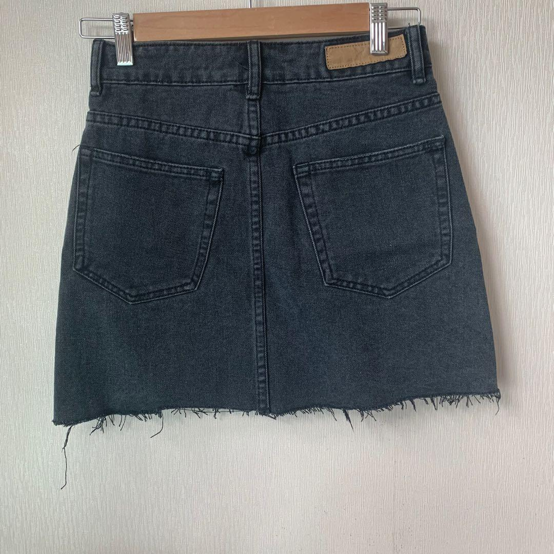 Cotton On classic washed out black denim skirt