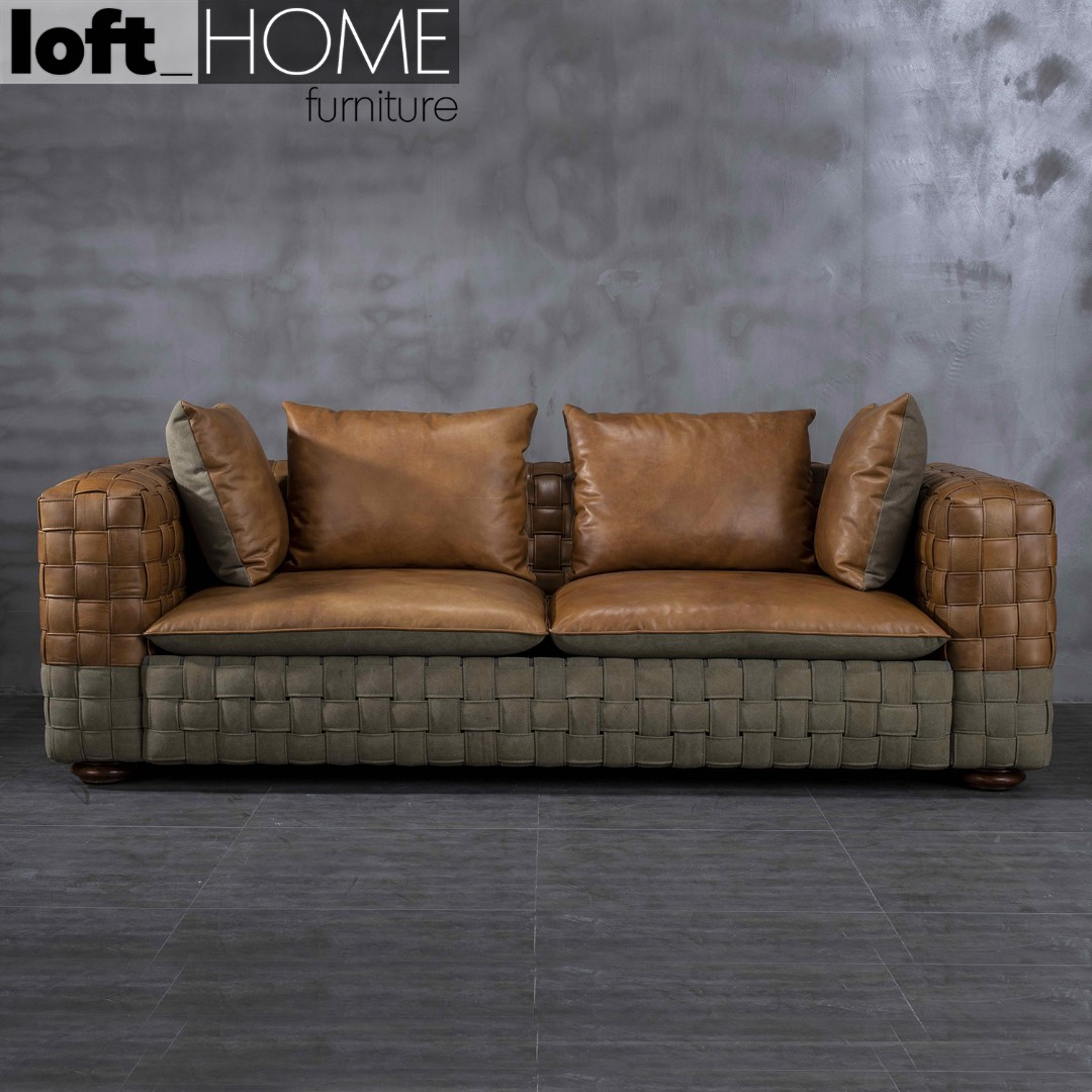 Genuine Leather & Canvas Sofa – Canvas Grey Martin