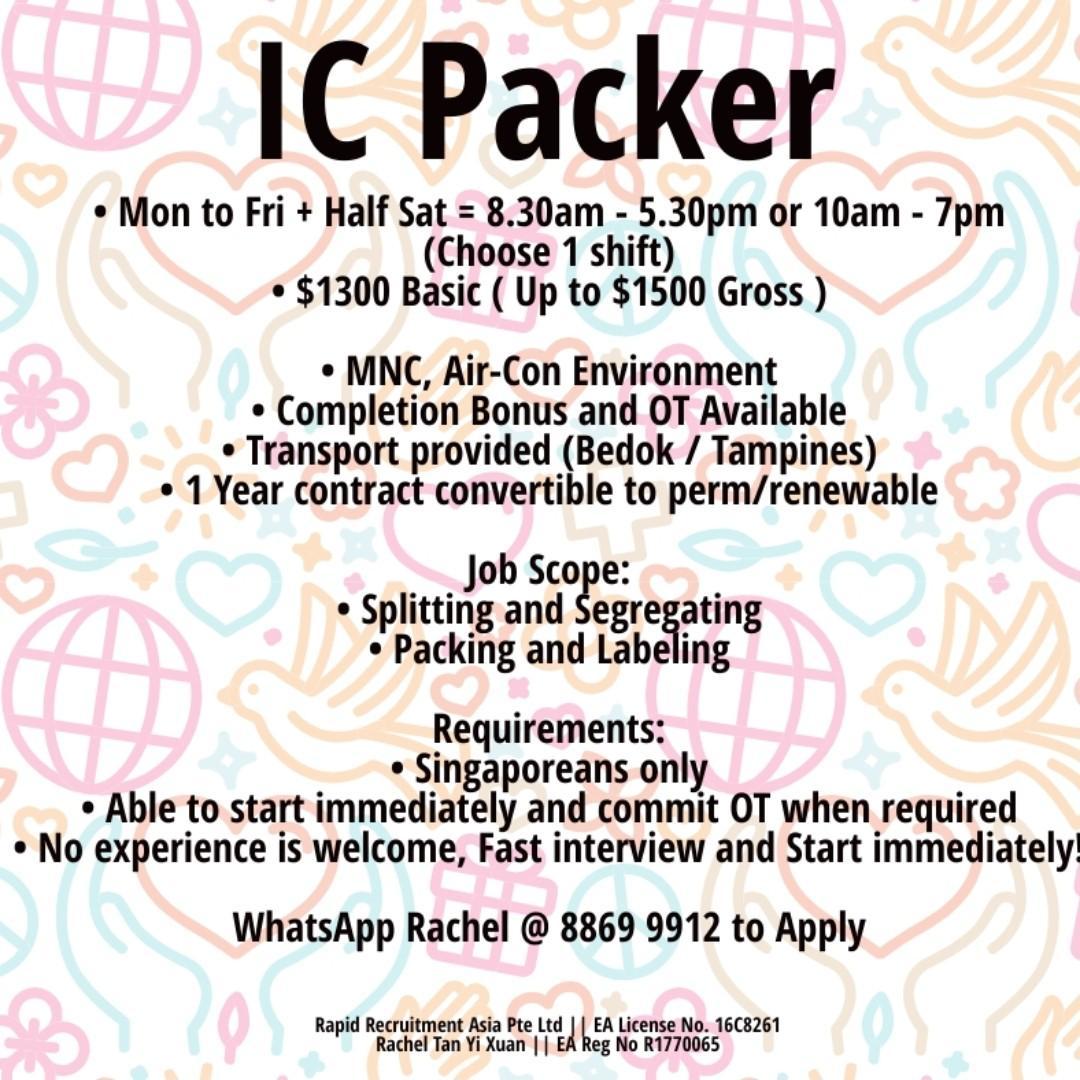 IC Packer - East (Up to $1500 - Immediate Hiring)