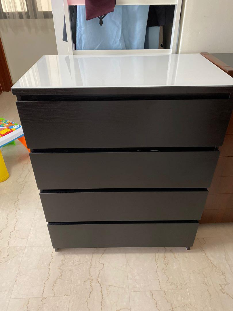 Ikea Malm Cheat Of 4 Drawers Including Glass Top Cover Furniture Shelves Drawers On Carousell
