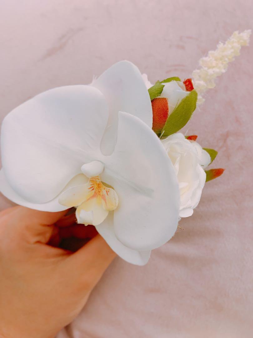 Lemongrass 新郎襟花+新娘頭花