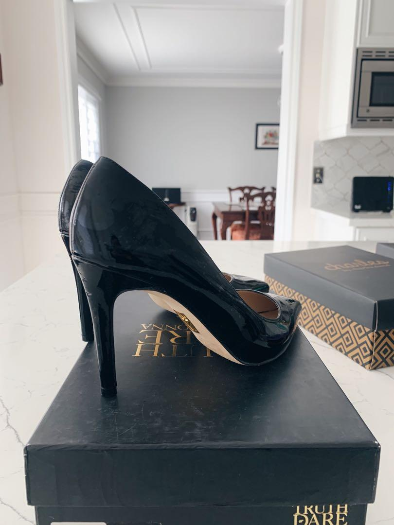 Madonna Truth or Dare Heels in  Patent Black; Size 8