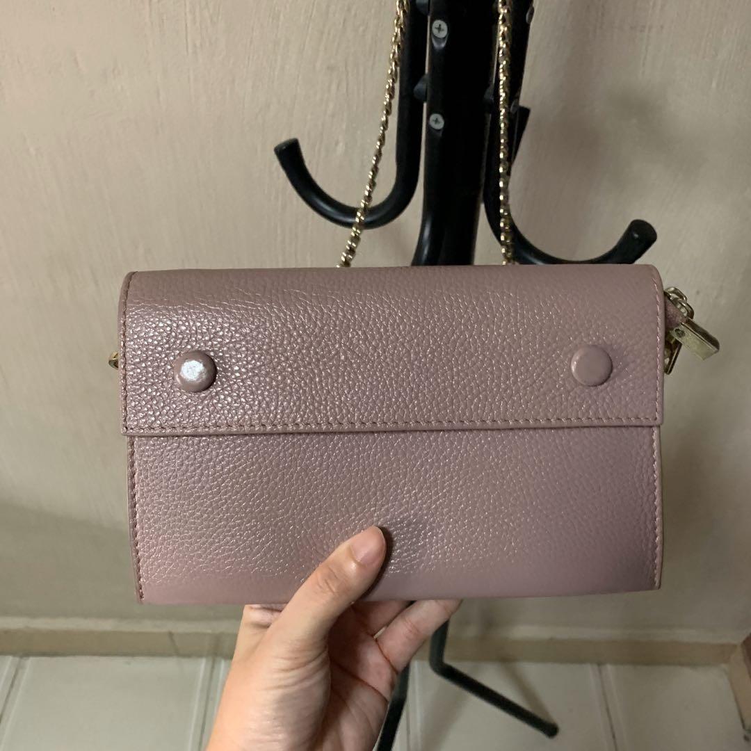 Mauve Trio Leather Wristlet / Sling Bag