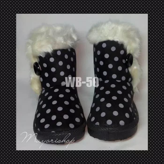 NEW Sepatu Boots Anak BLACK POLKADOT WB50 Size 29 Winter Fur Import