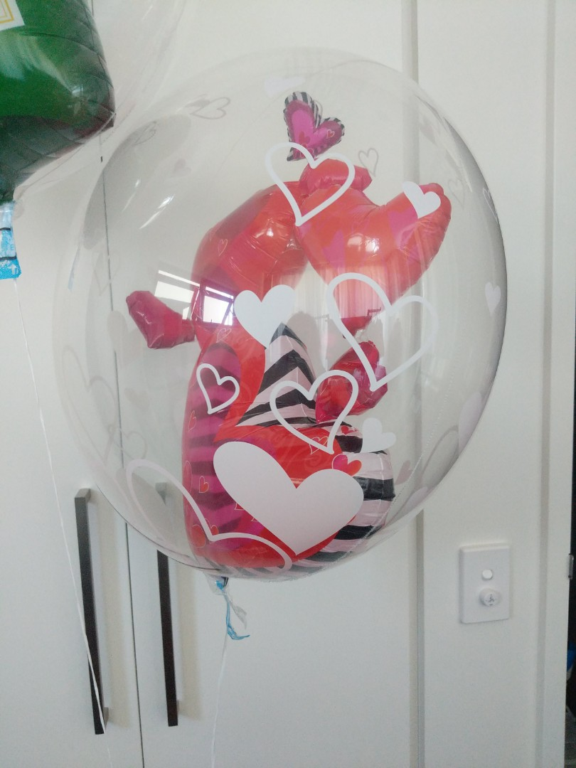 Party Helium bubble  balloon with champagne and hearts