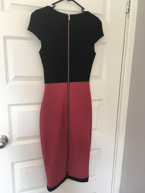 Portmans Size 6 Brand New With Tags Black and Pink Midi Pencil Work Dress