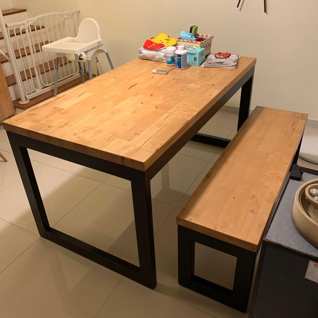 Pre Loved Butcher Block Dining Table And Bench Furniture Tables Chairs On Carousell