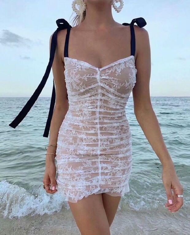 PREORDER Overlay tie sleeve dress