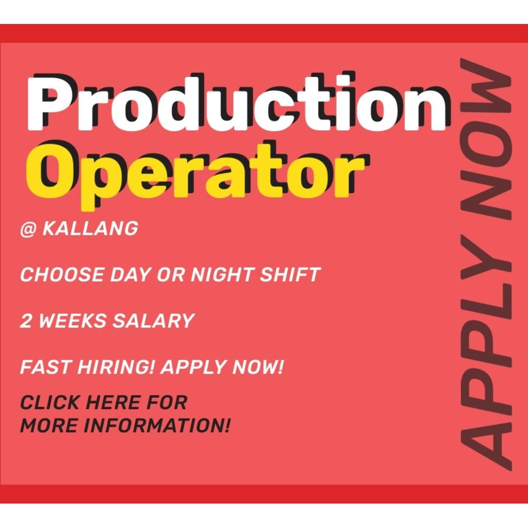 Production Operator @ Kallang ( AM & PM Shift Available)