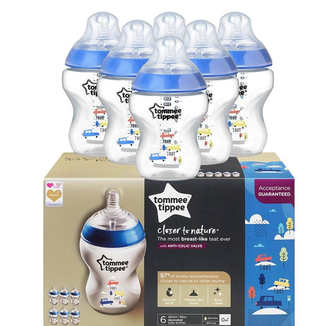 ⚡SALE⚡Tommee Tippee Closer to Nature Decorated Feeding Bottles, 260 ml, 6 Count