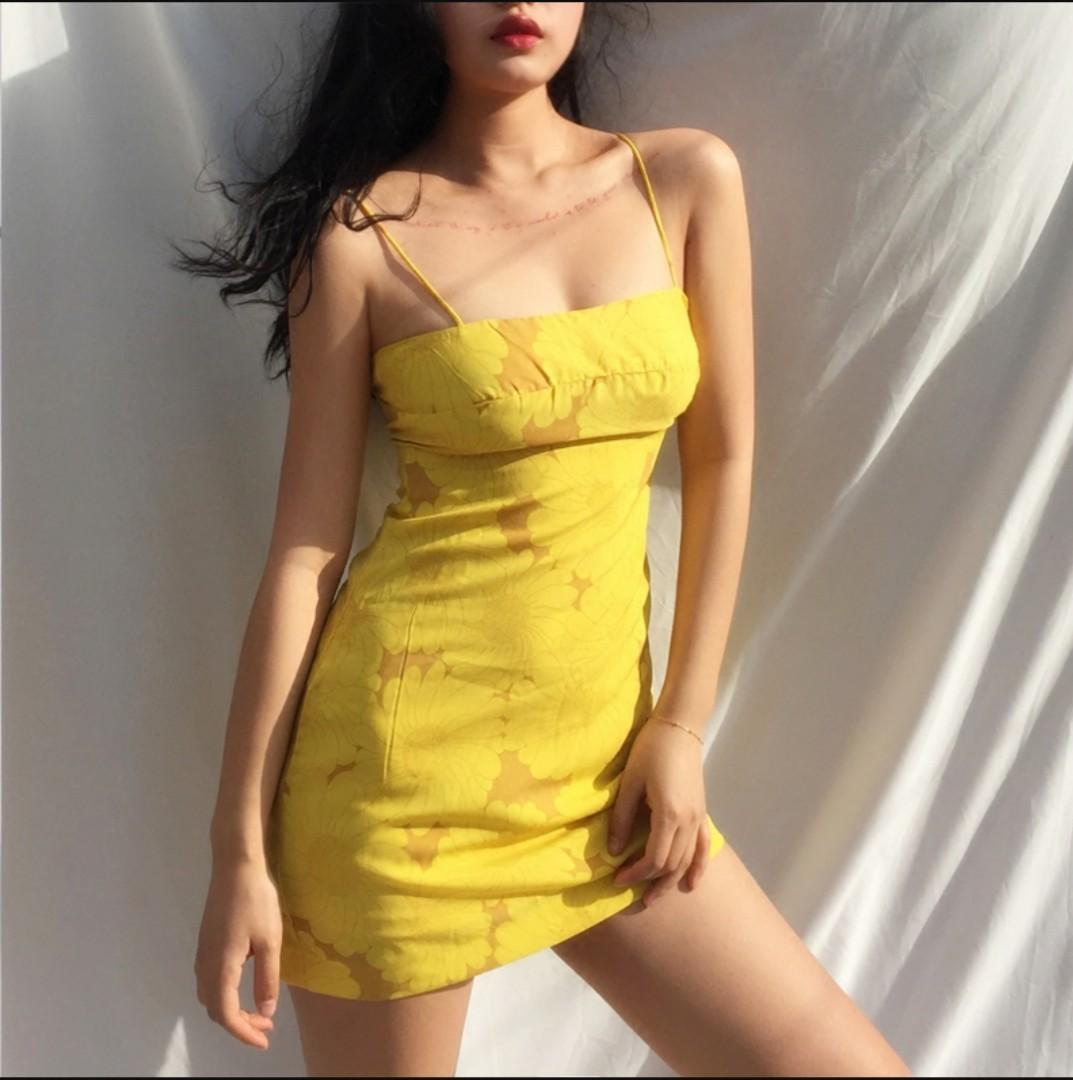 Sunflower spghetti strap dress