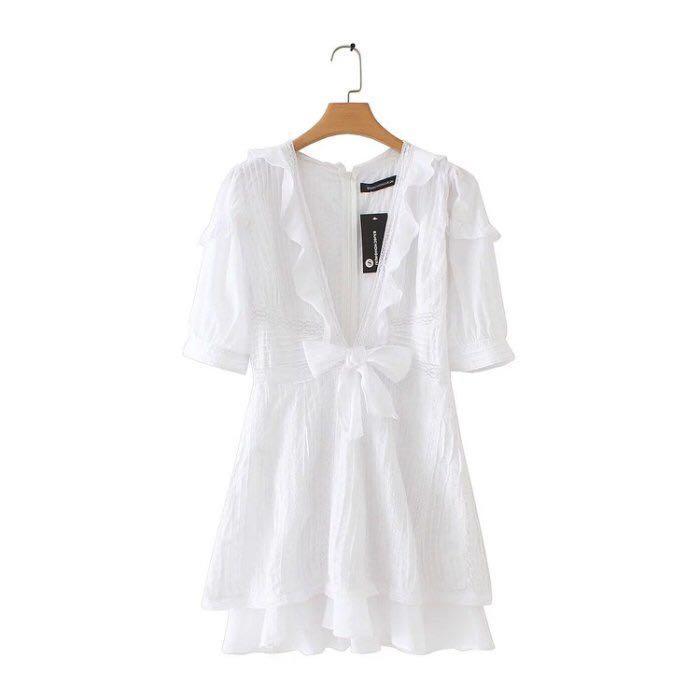 歐美蕾絲蝴蝶結法式綁帶荷葉邊深V洋裝