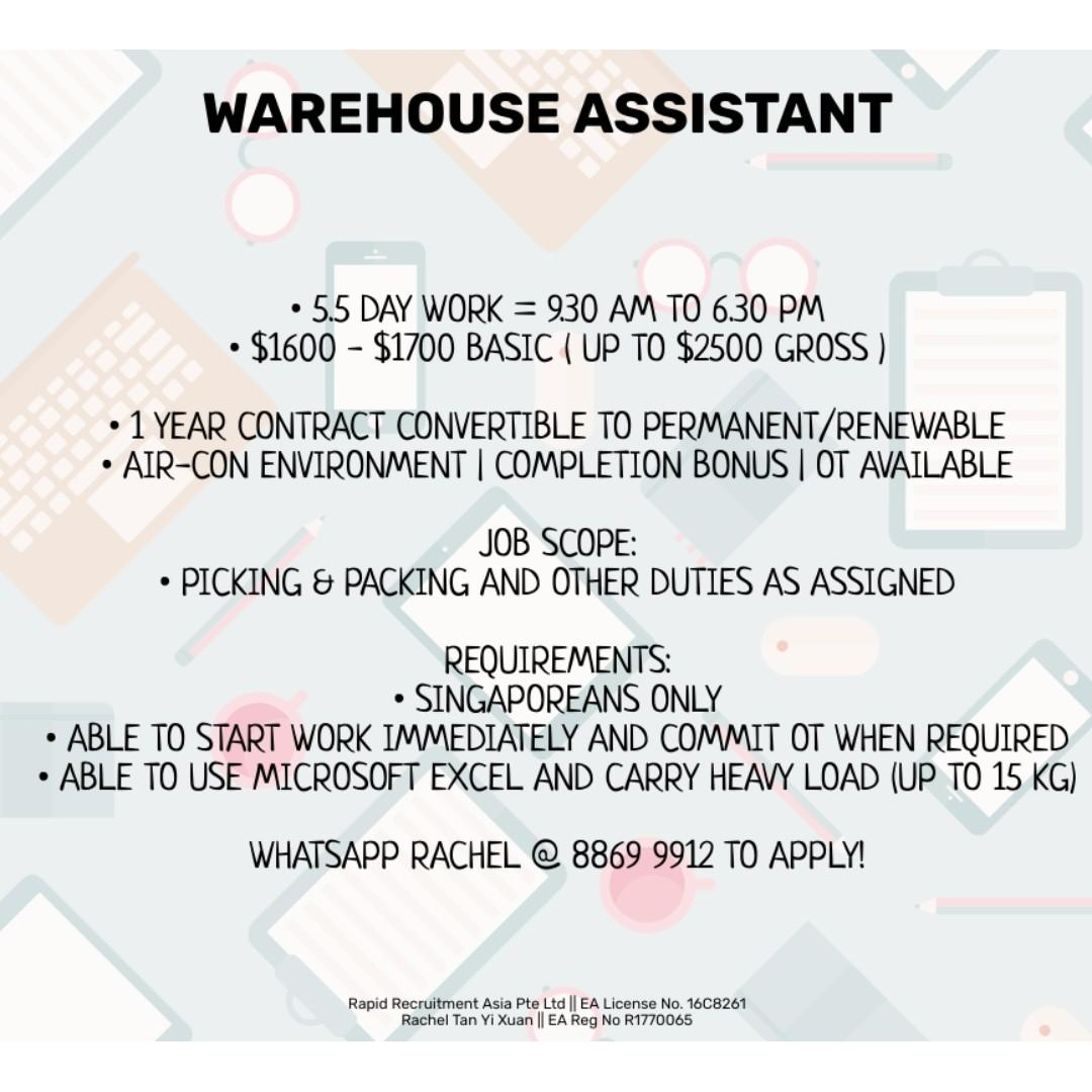 Warehouse Assistant - East (Up to $2500 - Immediate Hiring)