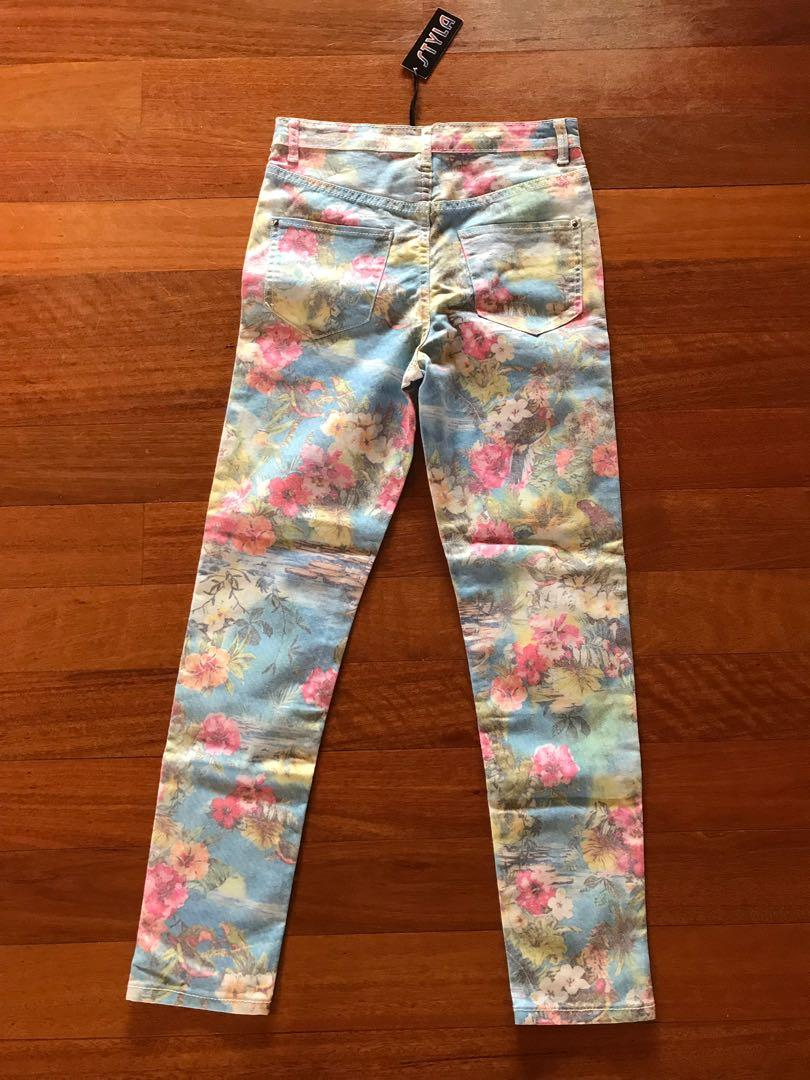 Watercolour Floral Denim Jeans ~ size 10 (small Make suit 6-8) BRAND NEW WITH TAGS