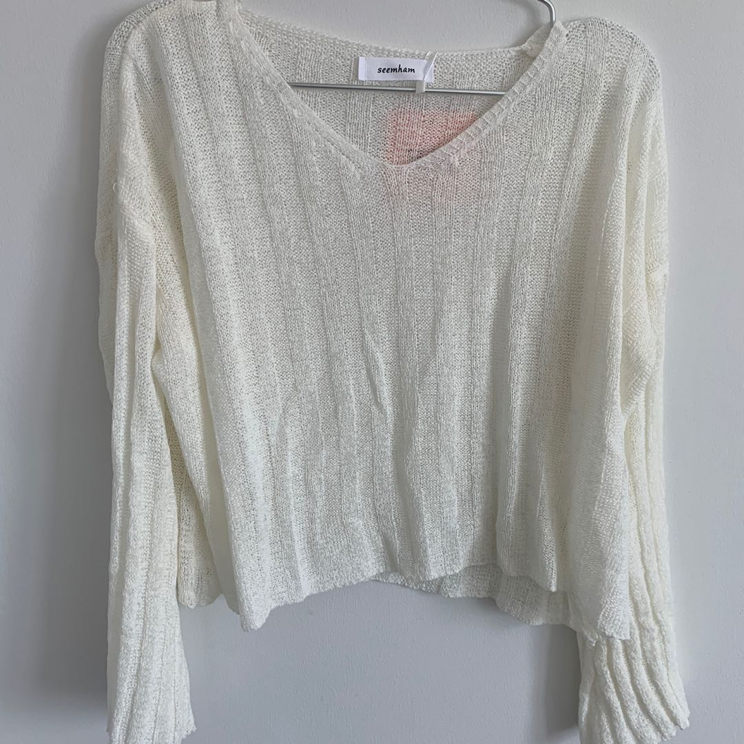 white knitted top sweater shirt