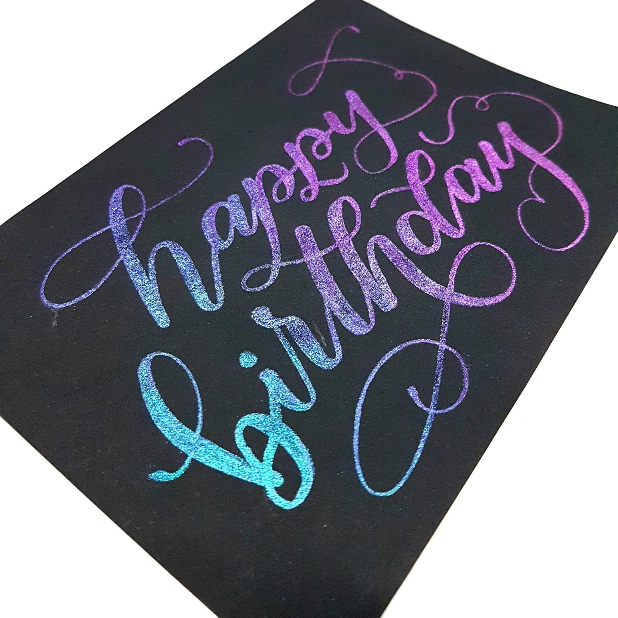 [Instock] Rainbow Happy Birthday Calligraphy Card (Peacock)