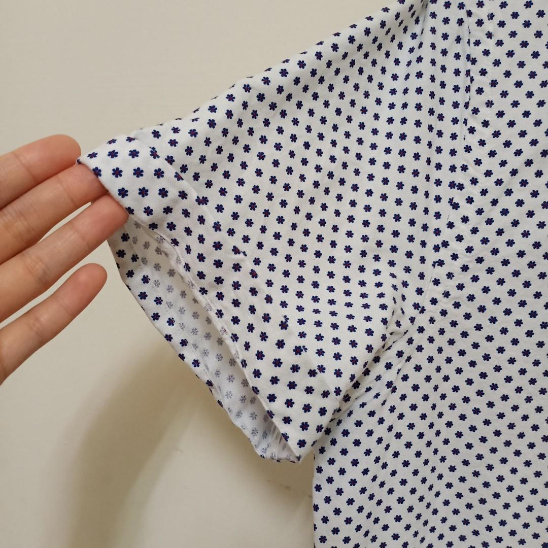 Zara小花朵短袖襯衫