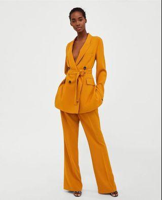 Zara mustard blazer pant suit coordinated set